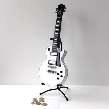 Vintage White Electric Guitar Money Box